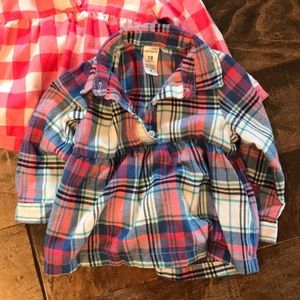 Two toddler flannel fall long sleeve shirts